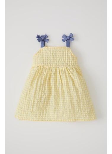 DeFacto Kız Bebek Pötikareli Askılı Elbise Ekru